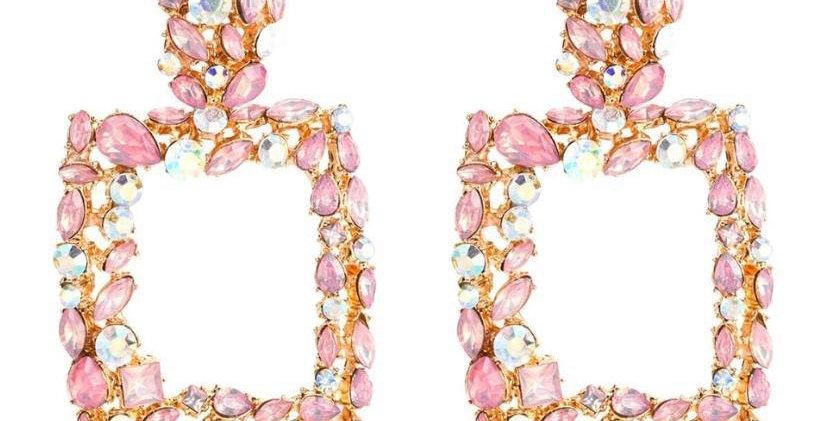 Gem Earrings- Pink