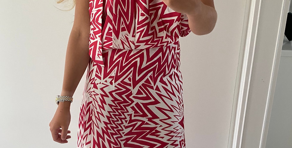 Zig Zag SilkyTwo Piece Outfit Red