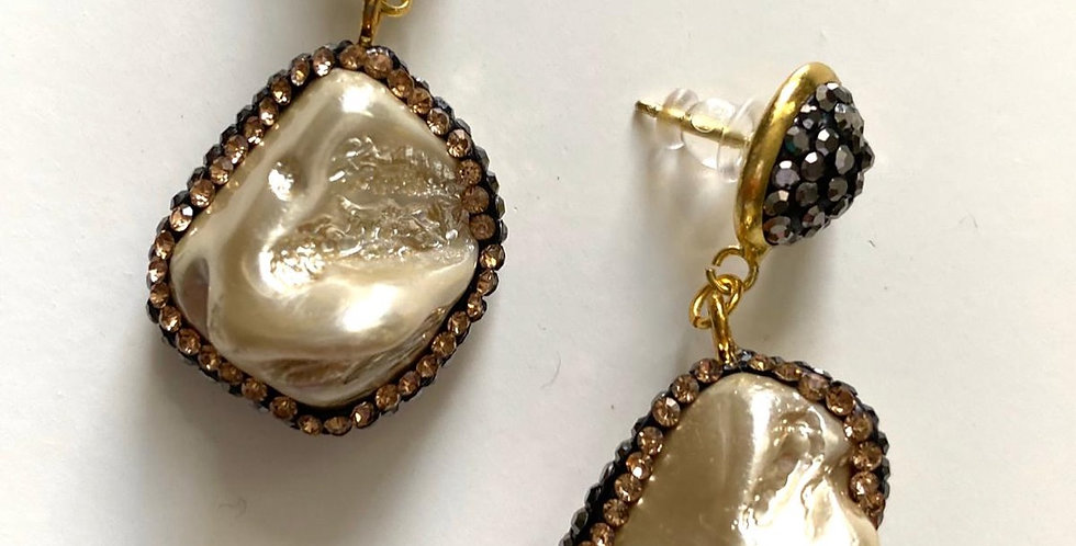 Natural Stone Earrings Champagne White