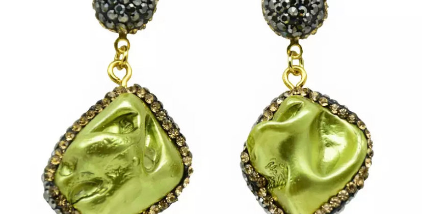 Natural Stone Earrings- Green