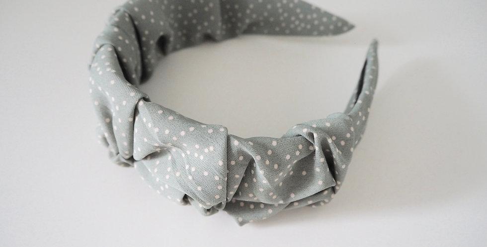 Ruched Satin Headband Sage Green Polka Dot