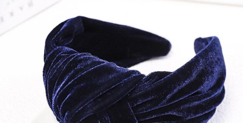 Velvet Oversized Knot Headband Navy