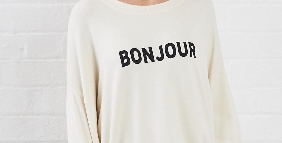 Sundae Tee Peach Bonjour Printed Sweat T-shirt Cream