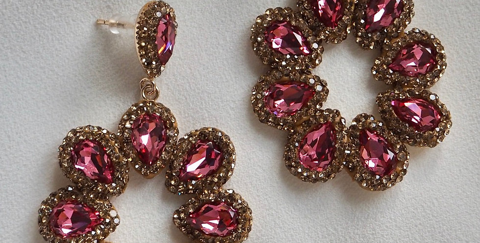 Halo Earrings Rosey Pink