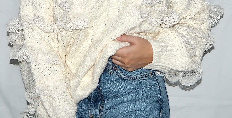Lillian Lace Cable Knit Jumper Cream