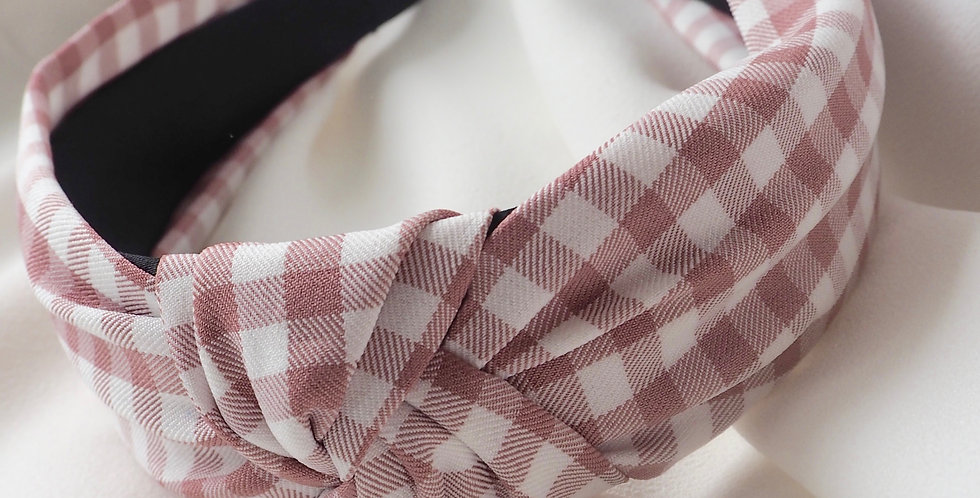Gingham Dreams Knot Headband Pink