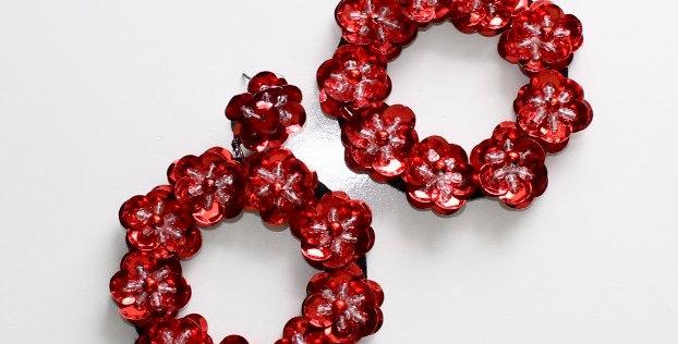 Full Bloom Earrings Red