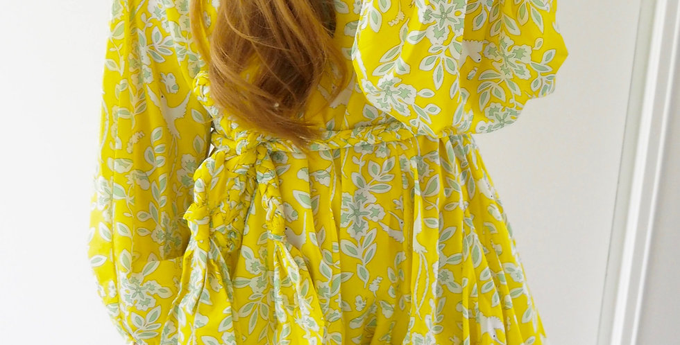 Swing Dress Bright Yellow Print
