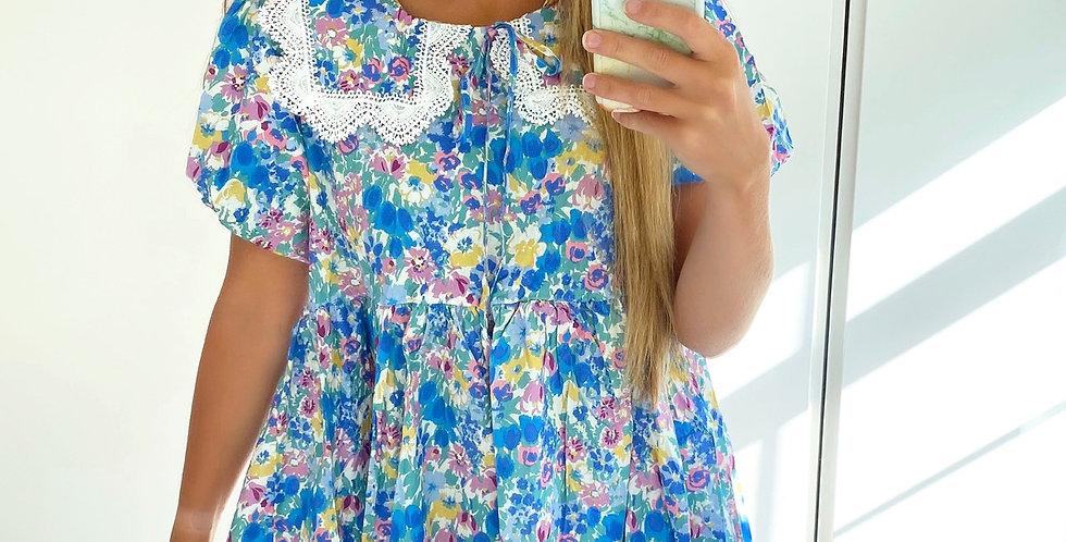 Felicity Blue Floral Tea Dress