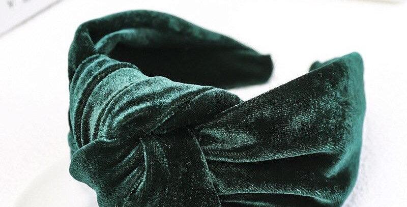 Oversized Velvet Knot Headband Dark Green