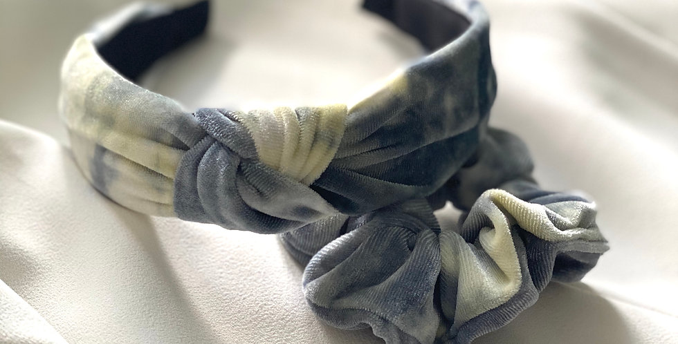 Tie Dye For Velvet Headband & Scrunchie Set Lemon & Grey