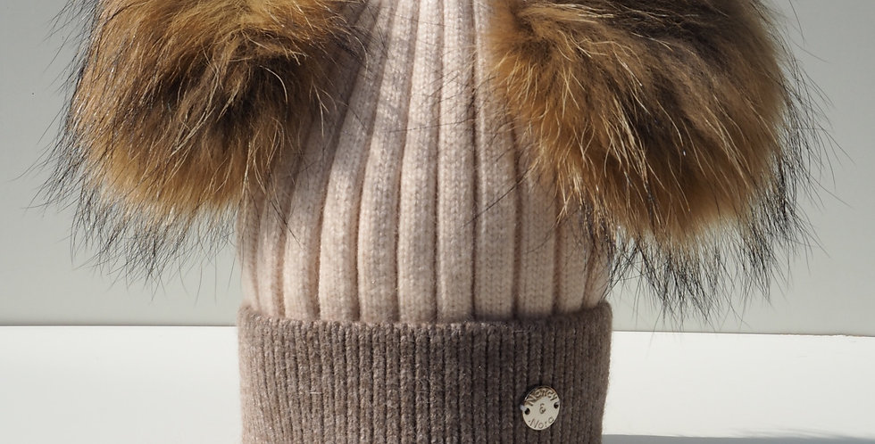Adults Two Tone Double Hat Beige and Mocha