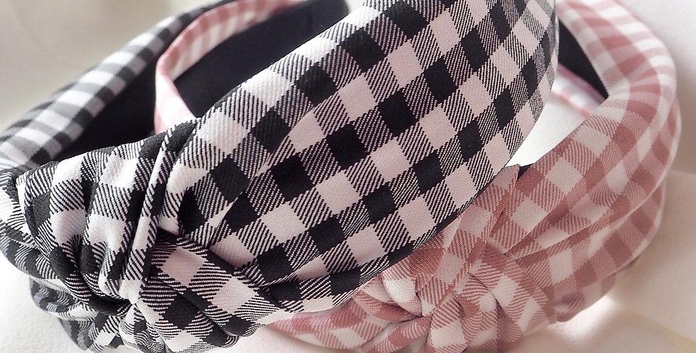 Gingham Dreams Knot Headband Black