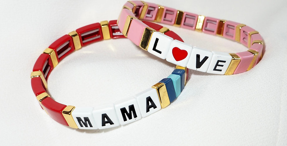 Acrylic Beaded Stacking Bracelets Mama Love