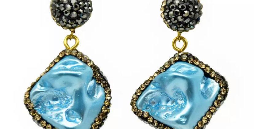 Natural Stone Earrings - Blue