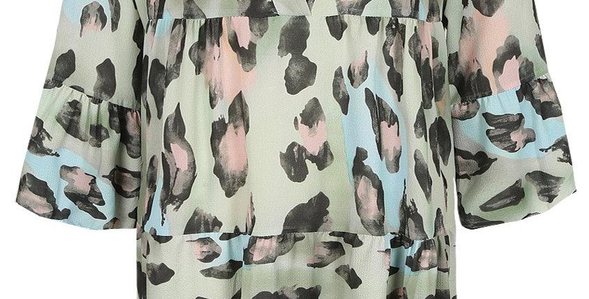 Green Multi Leopard Smock Dress