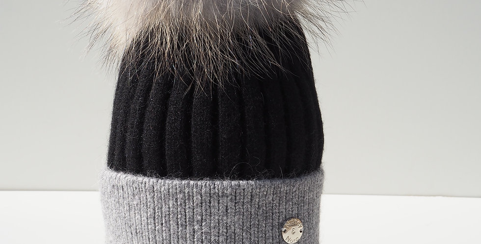 Adults Two Tone Single Hat Black & Grey