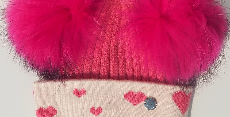 Kids Bright Pink Hearts Double Hat