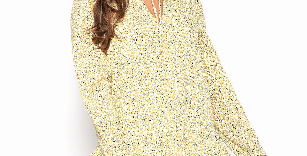 Citron Daisy Ditsy Print Yellow Swing Dress
