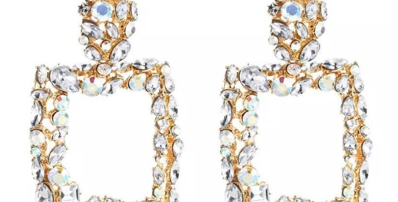 Gem Square Earrings White