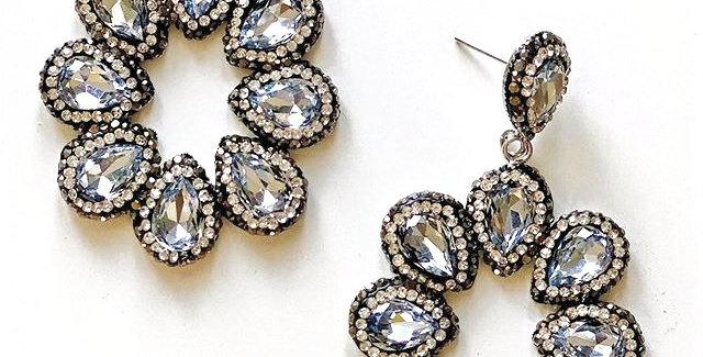 Halo Earrings- Silver & Blue