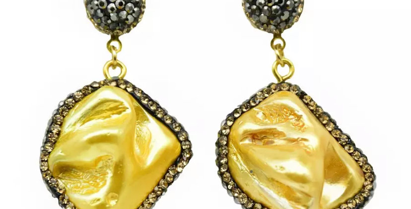 Natural Stone Earrings -Gold