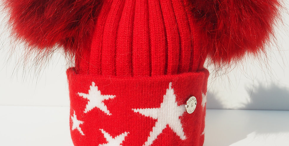 Kids Red Stars Double Hat