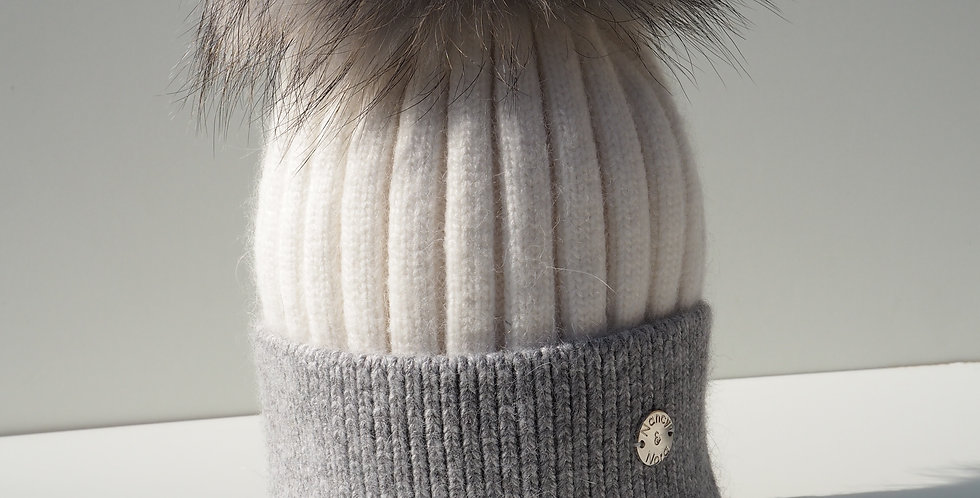 Adults Two Tone Single Hat Cream and Grey