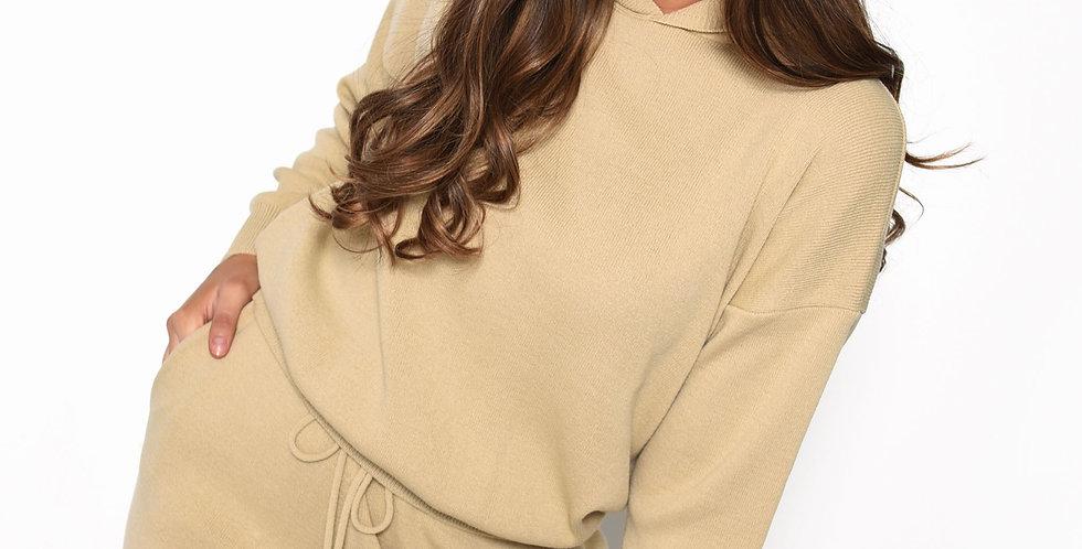 Oatmeal Knitted Long Sleeve Hooded Jumper