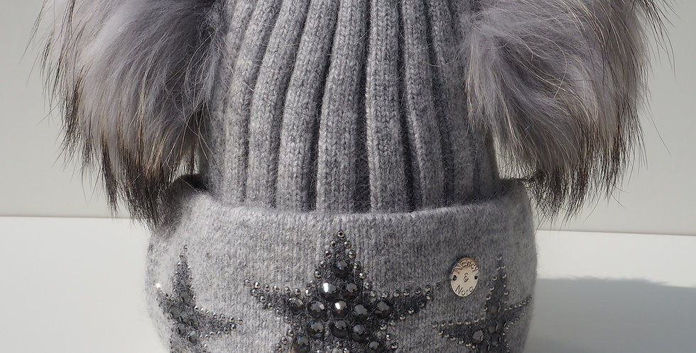 Adults Star Hat Double Grey with Slate Stars
