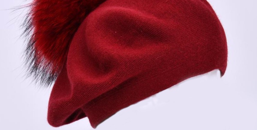 Beret with PomPom - Red