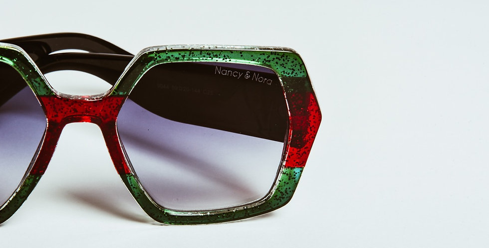 Jade Sunglasses Green/Red Stripe