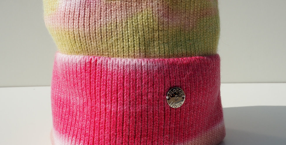 Tie Dye Beanie Pink and Green