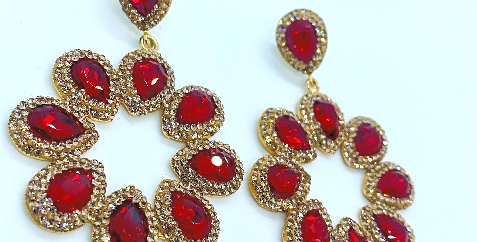 Halo Earrings - Red