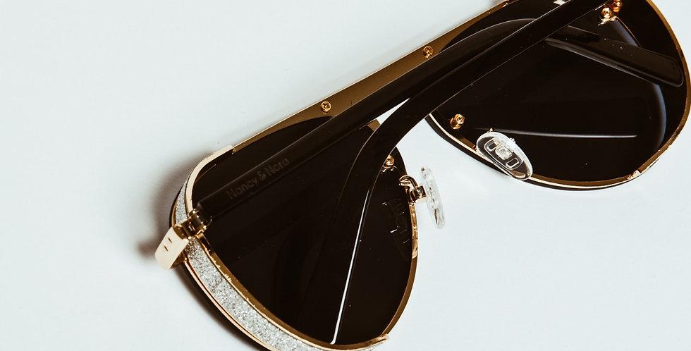 LuLu Sunglasses Black Lens Silver Glitter Detail