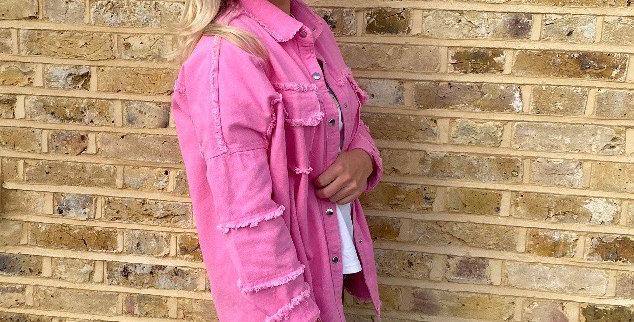 Denim Shacket - Hot Pink