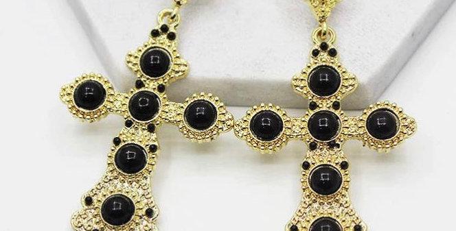 Cross Earrings- Black and Gold