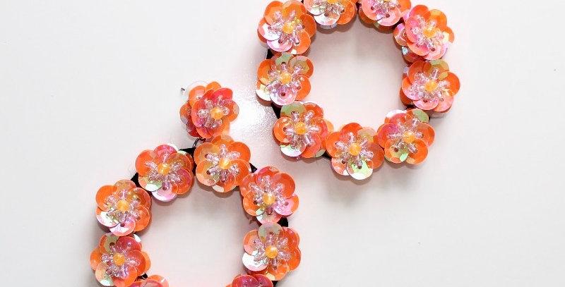 Full Bloom Earrings Peach