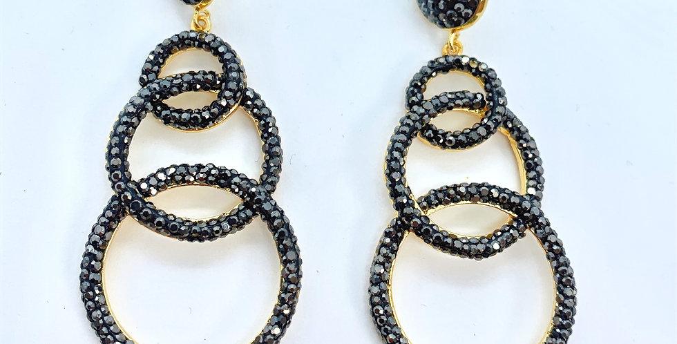 Drop Circle Earrings  Black