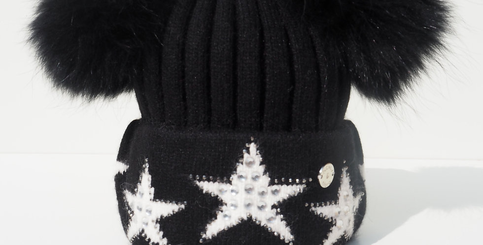 Adults Star Hat Double Black with White Stars Pre-order Dispatch 24th Feb