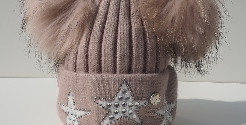Adults Star Hat Double Beige with White Stars