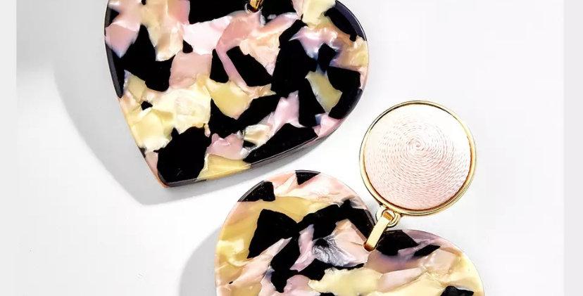 Marble Heart Earrings -