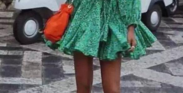 Floral Green Swing Dress
