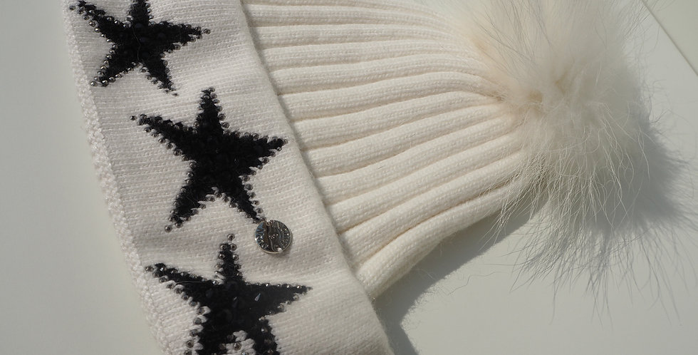 Adults Stars Single Hat White with Black Stars