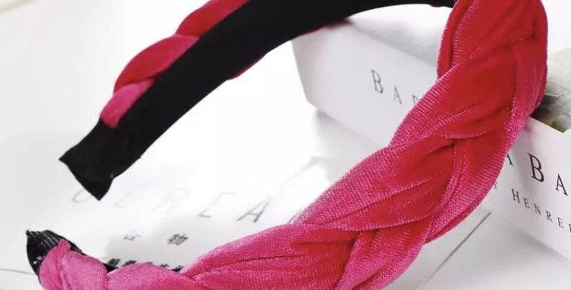 Pleated Headband - Hot Pink
