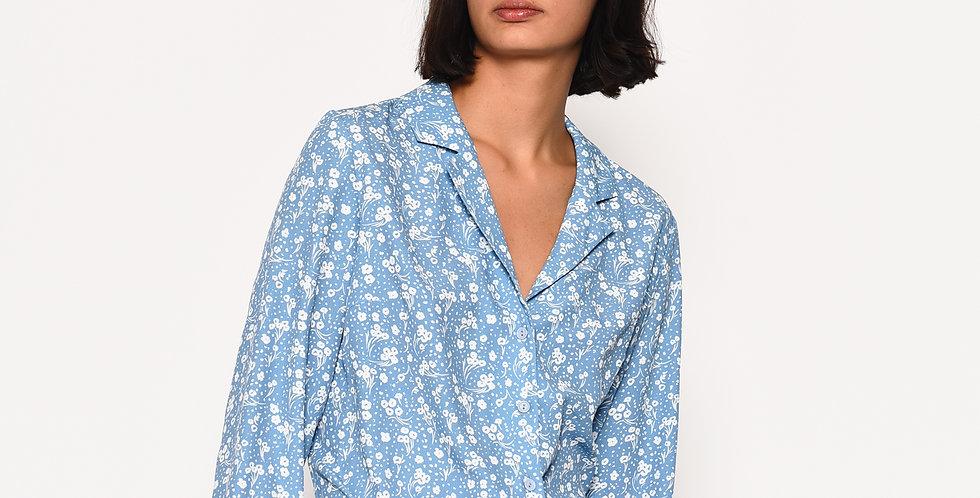 Ditsy Print Blue Shirt