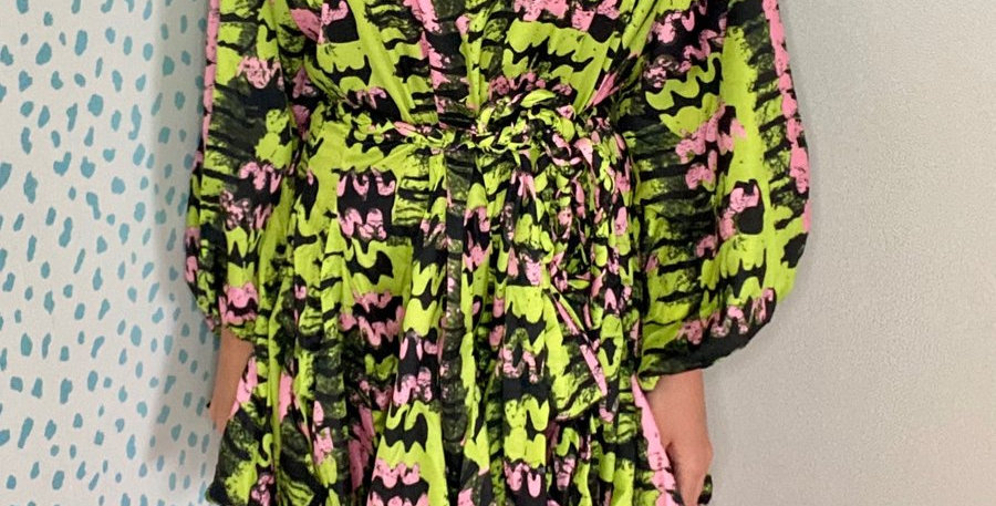 Swing Dress Abstract Pink and Green