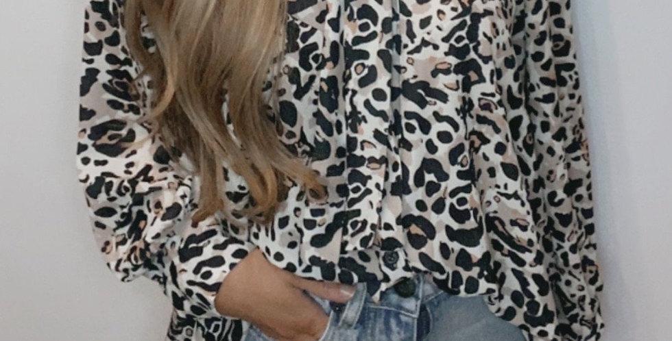 Leopard Print Bow Neck Shirt