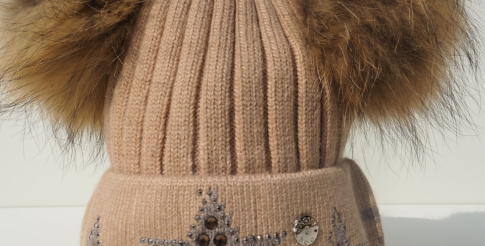 Adults Star Hat Double Beige with Grey Stars