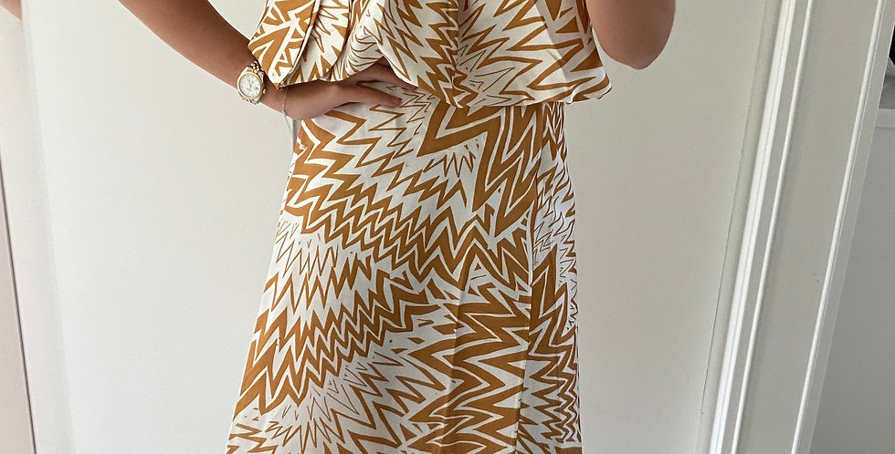 Zig Zag SilkyTwo Piece Outfit Yellow
